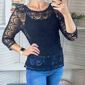 Fever black crochet 3/4 sleeve top